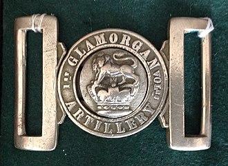 1st Glamorganshire Artillery Volunteers - Waistbelt clasp of the 1st Glamorganshire Artillery Volunteers, c1890