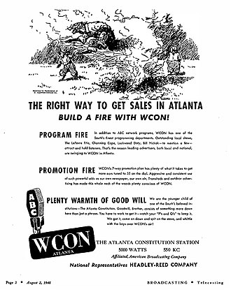 The Atlanta Journal-Constitution - 1948 advertisement for the Constitution's AM radio station WCON.