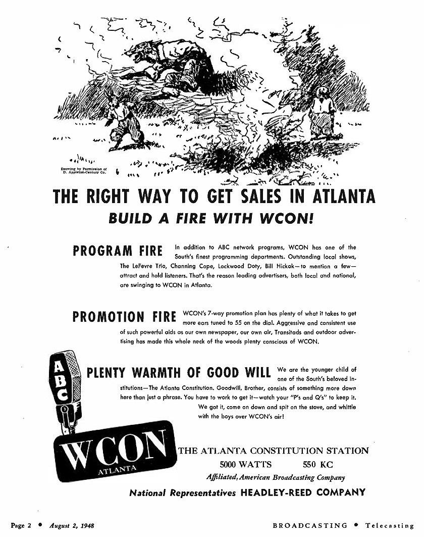 WCON Atlanta advertisement (1948)