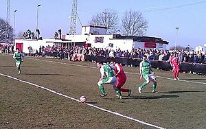 Guernsey F.C. - Guernsey (in green) playing Walsall Wood in the quarter-finals of the FA Vase