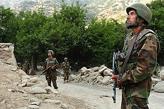 Nuristan Province - Members of the Afghan National Army (ANA) during a U.S.-led patrol in Wadawu valley during Operation Silver Creek in August 2009