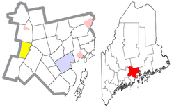 Location of Freedom (in yellow) in Waldo County and the state of Maine