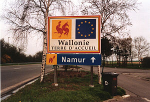 European route E42 - Road sign at the border between Wallonia and France