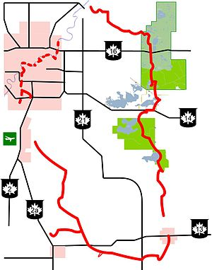 Beaver Hills (Alberta) - A map of the Waskahegan Trail system. The green areas on the right are, from north to south, Elk Island National Park, the Blackfoot Recreation Area, and Miquelon Provincial Park (north and south blocks).