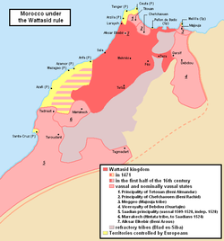 Map of the Wattasid sultanate (dark red) and its vassal states (light red)