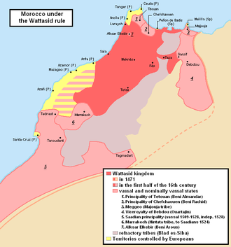 Wattasid dynasty - Map of the Wattasid sultanate (dark red) and its vassal states (light red)