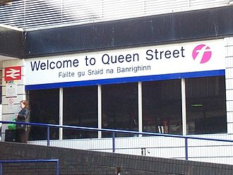 Scottish Gaelic - Bilingual English/Gaelic sign at Queen Street Station in Glasgow.