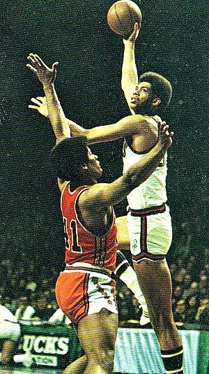 Kareem Abdul-Jabbar - Alcindor displaying his trademark sky-hook over Wes Unseld of the Baltimore Bullets
