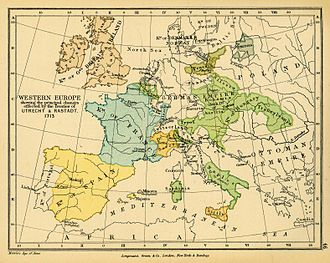 Victor Amadeus II of Sardinia - Map of Western Europe in 1713, the Duchy of Savoy can be seen yellow in the centre