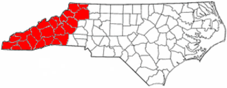 Western North Carolina - The counties most commonly associated with Western North Carolina.