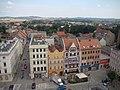 Widok na zabytkowe kamienice od lewej kolejno Ząbkowicka 2, Rynek 17, Rynek 18 w Dzierżoniowie.JPG