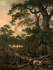 Boslandschap met boomstam, distel en figuren op een weg