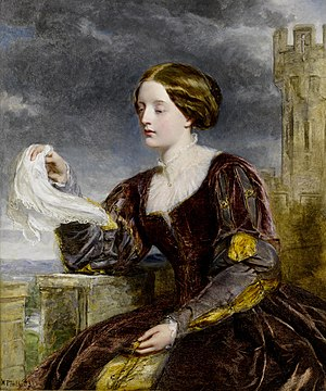 "Signal - In ""The Signal"" painting by William Powell Frith, a woman waves a handkerchief as a signal to a person able to see this action, in order to convey a message to this person."
