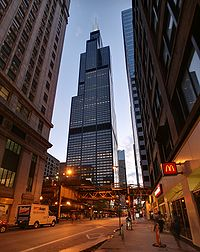 Willis Tower At Dusk, Seen From The Loop