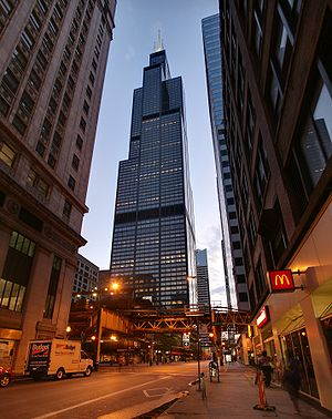 Willis Tower at night in Chicago from the corn...