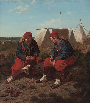 Uniforms of the United States Army - The Brierwood Pipe an 1864 oil painting by Winslow Homer of two 5th New York Zouaves