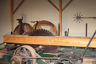 Saw - Circular wood-cutting saw at Maine State Museum in the capital city of Augusta, Maine
