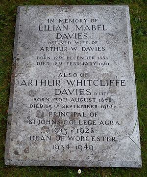 St. John's College, Agra - Worcester Cathedral, grave of Rev. Dr. Arthur Whitcliffe Davies in the Cathedral Cloisters