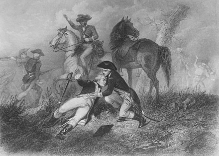 Lafayette wounded at the battle of Brandywine Woundedatbrandywine.jpg