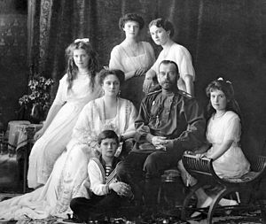 Imperial Coronation (Fabergé egg) - The Imperial Family, 1913; Left to right, seated: Grand Duchess Maria and Tsaritsa Alexandra; Tsarevitch Alexei; Tsar Nicholas II; Grand Duchess Anastasia; Standing: Grand Duchess Tatiana, Grand Duchess Olga