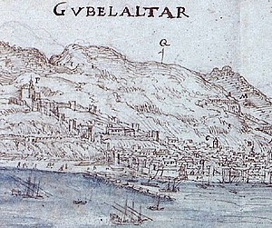 "Moorish Gibraltar - The basic layout of the Moorish city of Gibraltar can still be seen in this 1567 view by Anton van den Wyngaerde. The Moorish Castle is marked with an ""F"" at the top left."