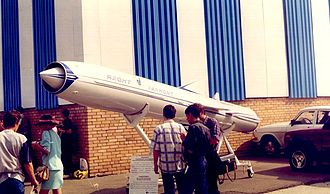 P-800 Oniks - Yakhont/Onyx missile at MAKS Airshow in Zhukovskiy, 1997.