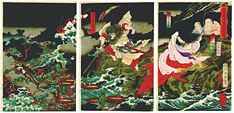 Yamata no Orochi - Susanoo slaying the Yamata no Orochi, by Toyohara Chikanobu