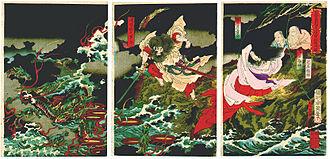 Yamata no Orochi - Susanoo slaying the Yamata no Orochi, by Toyohara Chikanobu