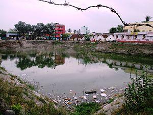Poigai Azhwar - Temple tank in Yathothkari Perumal Temple where Poigai Azhwar originated