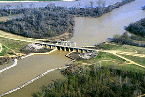 Yazoo River - One of many control structures constructed to control flooding and the flow of water in the Yazoo River basin