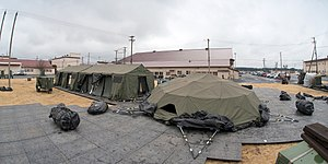 Yokota Air Base - Tents used to house U.S. Pacific Command's (USPACOM) Deployable Joint Command and Control (DJC2) system during Operation Tomodachi