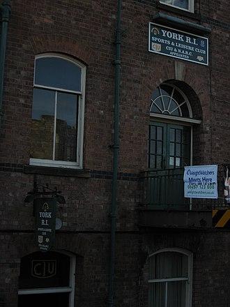 Working Men's Club and Institute Union - York R I Club, CIU-affiliated.