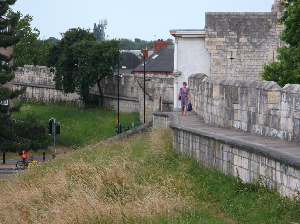A section of the city walls around York, UK