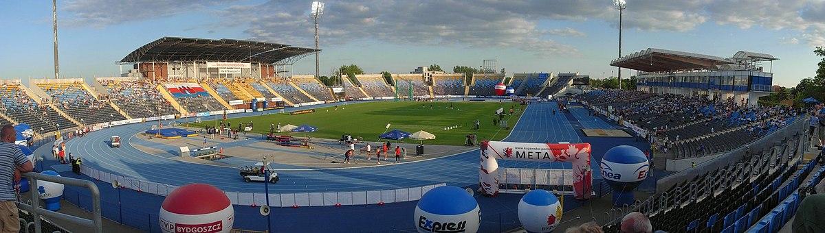 Polski: Stadion Zawisza Bydgoszcz podczas zawodów lekkkoatletycznych