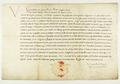 Zygmunt I Stary król polski, w mandacie skierowanym do poborcy podatkowego Wawrzyńca Pogorzelskiego zawiadamia, iż mieszczanie poznańscy wolni są od pewnych podatków, a inne zostały przez nich zapłacone..png