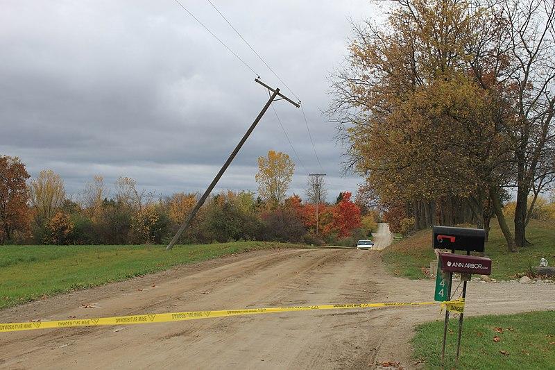 """File:""""Danger Live Wire"""" Road Block, ~5911 Bethel Church Road, Lodi Township, Michigan - panoramio.jpg"""