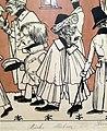 """""""Zug der Düsseldorfer Künstler"""" von 1837, Karikatur seiner malenden Zeitgenossen II, Andreas Achenbach – Ausschnitt Heinrich Mücke, Julius Hübner.jpg"""