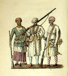 In the 1820s, Shoberl created these images of India: (1) A Seapoy in native attire; (2) a Hindu soldier; and (3) a Brigbasi. (1) A Seapoy in the Native Attire; (2) A Hindoo Soldier; (3) A Brigbasi.jpg
