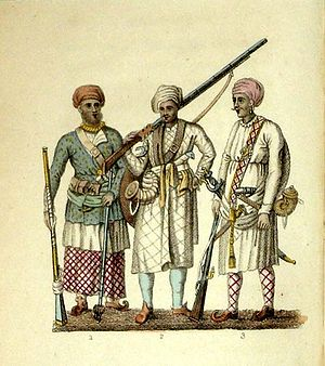 Frederic Shoberl - Image: (1) A Seapoy in the Native Attire; (2) A Hindoo Soldier; (3) A Brigbasi