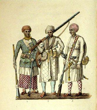 Frederic Shoberl - Image: (1) A Seapoy in the Native Attire; (2) A Hindoo Soldier; (3) A Brigbasi