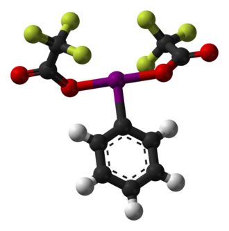 (Bis(trifluoroacetoxy)iodo)benzene - Image: (bis(trifluoroacetox y)iodo)benzene 3D balls