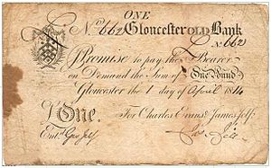 Gloucester Old Bank - An 1814 banknote from Gloucester Old Bank.