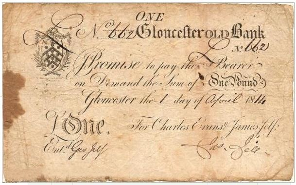£1 Gloucester Old Bank note for Charles Evans & James Fell 1814