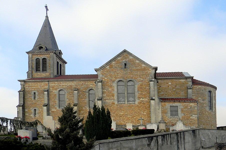 Église de Mionnay, vue depuis le cimetière.