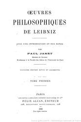 Godefridus Guilielmus Leibnitius: Œuvres philosophiques de Leibniz