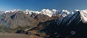 Высшая точка Алтая — гора Белуха и Ак-Кемская долина, вид с перевала Кара-Тюрек
