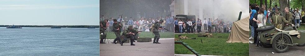 Празднование дня пограничника на стадионе им. Ленина в Хабаровске: Корабли Амурской пограничной флотилии на параде; инсценировка нападения нацистской Германии 22 июня 1941 года; пограничники обороняются; после «боя».