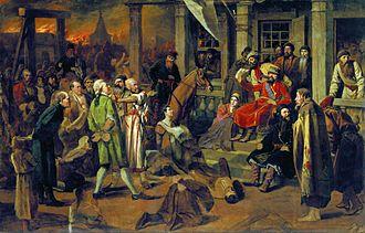 Yemelyan Pugachev - Pugachev Administering Justice to the Population. Painting by Vasily Perov.
