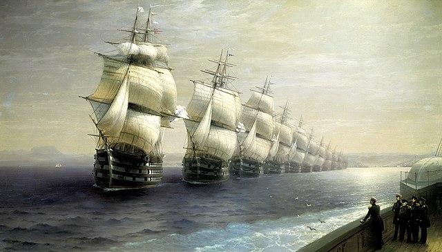 Смотр Черноморского флота в 1849 году (первым идет флагман «12 Апостолов»)
