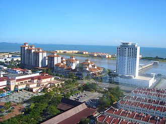 Malacca City - Part of the city centre, Malacca Island can be seen in a strip of land directly across the coast.